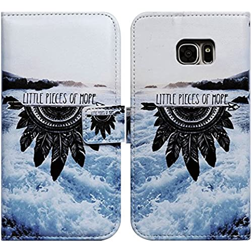 Bfun Packing Bcov Black Feather Sea Card Slot Wallet Leather Cover Case For Samsung Galaxy S7 Sales
