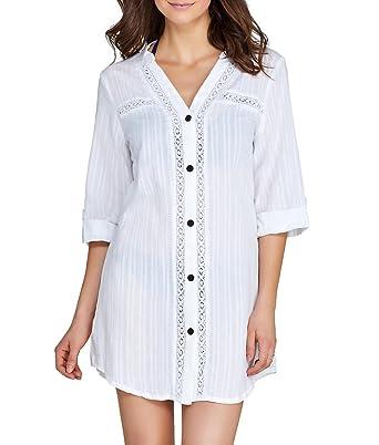 2d4ec16b815 Dotti Sunny Stripe Crochet Woven Shirt Cover-Up