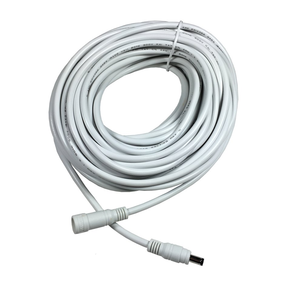 Hanvex HDX50W 50ft 2.1mm x 5.5mm DC Plug Power Adapter Extension Cable, 18AWG Heavy Duty Cord for 12V, 24V LED Strip, Lighting, and more, White