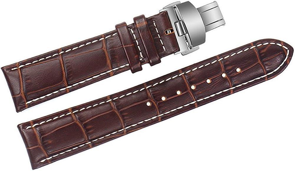 22mm Correas de Relojes Cuero marrón de reemplazo Bandas Hechas a Mano con Costuras de Color Blanco