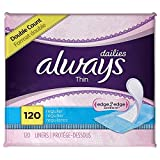 Always PFbLJo Thin Dailies Unscented Wrapped Liners, Regular, 120 Count (Pack of 10)