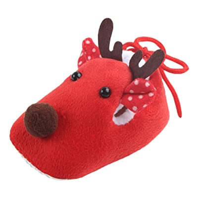 Baby Shoes, Efaster Toddler Infant Boy Girl Christmas Reindeer Cotton Warm Boots (Red)