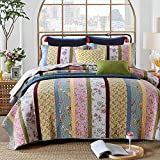 Shabby Floral Bedding Sets Country Chic Comforter Sets Blue And Pink Quilt Set Queen Size - Brandream
