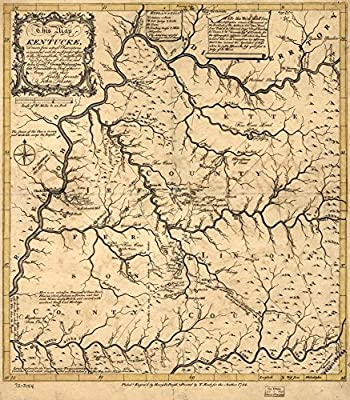 Vintage 1784 Map of Kentucke, drawn from actual observations, is inscribed with the most perfect respect, to the Honorable the Congress of the United States of America; and to His Excellcy. George Washington, late Commander in Chief of their Army. Kentuck