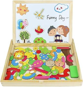 Fajiabao Lavagna Magnetica per Bambini Giocattoli Legno Doppio Lato Puzzle Legno Costruzioni Legno Bambini Giochi Educativi 3 4 5 Anni