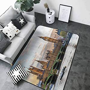 """Non-Slip Bath Hotel Mats London Decor Collection,Sunset Scenery of The Palace of Westminster Houses of Parliament and Big Ben Picture,Ivory Beige 64""""x 96"""" Kitchen Rugs Non Skid Washable"""