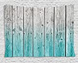 Ambesonne Rustic Tapestry Decor, Wood Panels Background with Digital Tones Effect Country House Image, Wall Hanging for Bedroom Living Room Dorm, 80 W X 60 L Inches, Teal Grey Review
