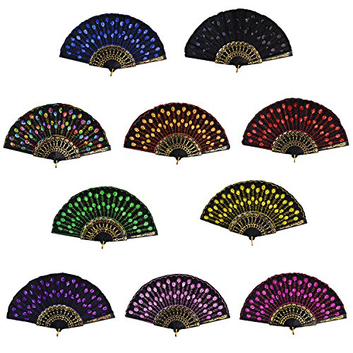 Rbenxia Vintage Folding Hand Fans Fabric Embroidered Sequins Fan Pack of 10 Pieces Random Color