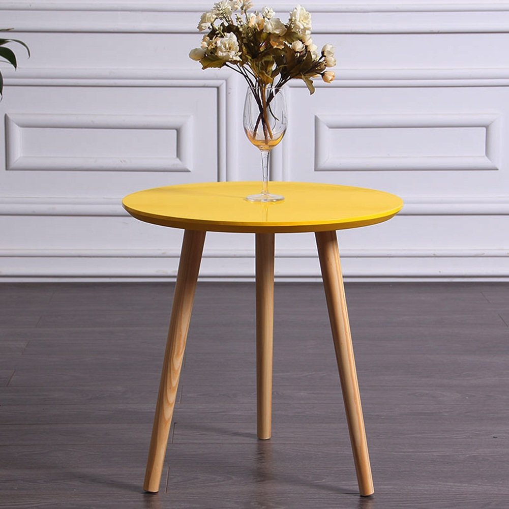 HAIPENG Tavolino da caff/è Tavolino Dappoggio Tavolo Piccolo Il Giro caff/è Divano Side Legna Mini Semplice Creativo Soggiorno Colore : Giallo, Dimensioni : 50x51.5cm