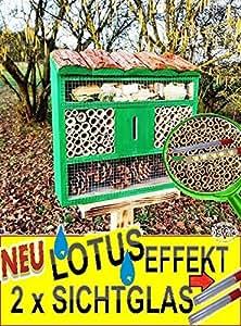Lotus para insectos de FDV grande, con efecto lotus (superficie impermeable), con 2x Visión Cristal 8/11mm, completo con celulosa, insectos Hoteles con madera corteza de Lotus OS No 1de techo, FDV Natural de Madera Insectos Nido XXL verde verde claro Insectos Casa–como complemento para nido Meisen Meise Buzón o para casa de pájaros
