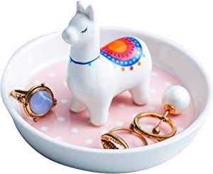 Jojuno Alpaca Ceramic Ring Holder Dish Jewelry Display Organizer, Jewel Tray Trinket Plate, Llama Home Decor, 4.1 x 4.1 x 3 in