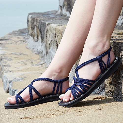 f8bf3c68016 Everelax Summer Braided Rope Flat Sandals Casual Vacation - Import It All