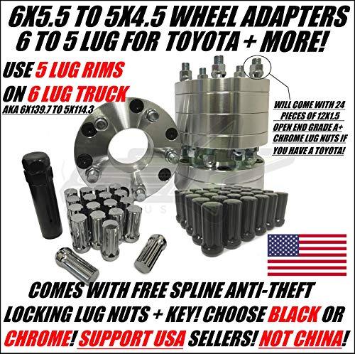 SetGroup USA 6x5.5 to 5x4.5 Wheel Adapter Spacers Use 5 Lug Rims On 6 Lug Toyota Trucks 12x1.5   Plus Free Lug Nuts!