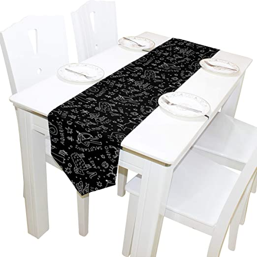 Amazon.com: WIHVE Table Runner Black and White Zodiac Icons ...