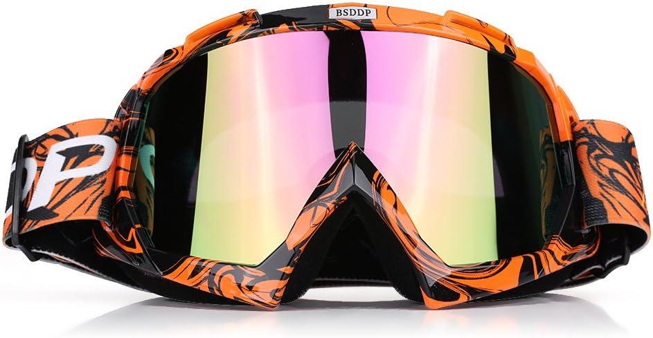 Qiilu Gafas Protección de moto para Motocross Esqui Deporte Ciclismo Carretera(naranja-color)
