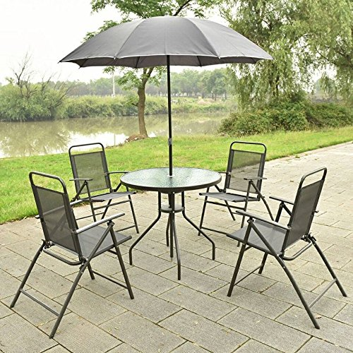 6 PCS Patio Garden Set Furniture 4 Folding Chairs Table with Umbrella Gray New HW52116 (Sale Patio Furniture Discount Sets)