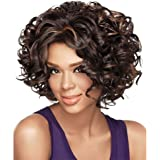 Alan Hair Fashion Dark Brown Color Short Wavy Curly Wigs, High-Temperature Synthetic Fiber Wig for African American Women