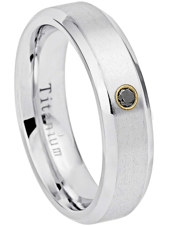 April Birthstone Ring 0.07ct Black Diamond Titanium Ring 6MM Brushed Finish Comfort Fit Beveled Edge White Wedding Band