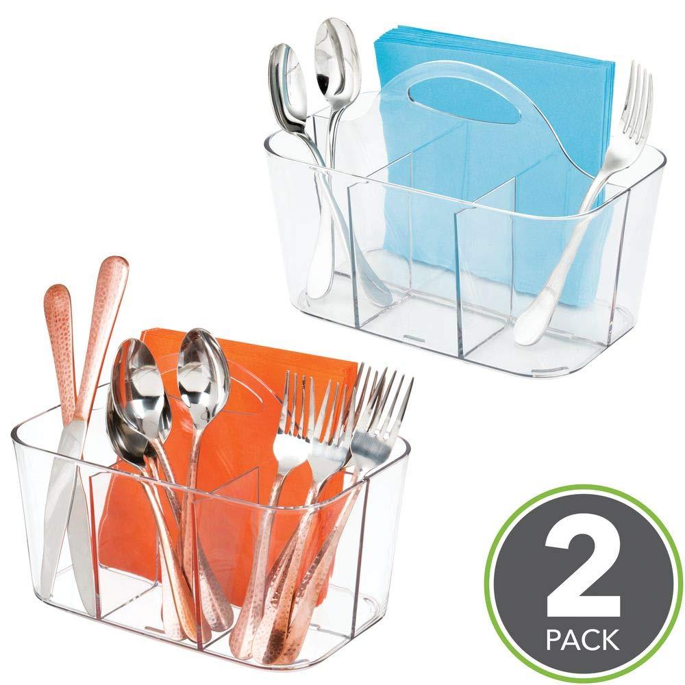Comodo salvaspazio cucina Organizer cucina con 4 scompartimenti ed un manico per trasportarlo mDesign Set da 2 Portaposate in plastica facilmente trasportabili nero