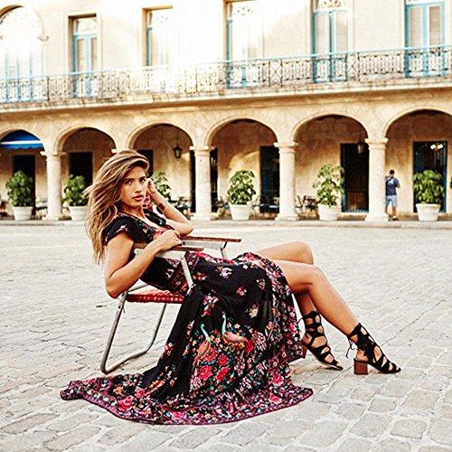 Femmes Floral t V Femme Rtro Sexy femme Noir Mode Sexy Robe Robe Yesmile Soire Imprimer robe Col Palais Cq8H44f