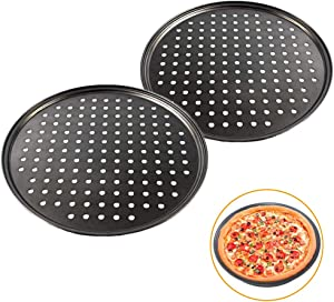 2 Pcs 12 Inch Pizza Pan with Holes,Non-stick Pizza Crisper Pan,Round Pizza Bakeware for Home Kitchen Oven Baking,Black