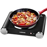 Cusimax Hot Plate Electric Burner Single Burner Cast Iron Heating Plate Portable Burner 1500W with Adjustable Temperature Con