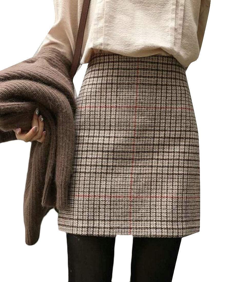 Cromoncent Women's High Waist Bodycon Wool Blend Plaid Fall Mini Skirts