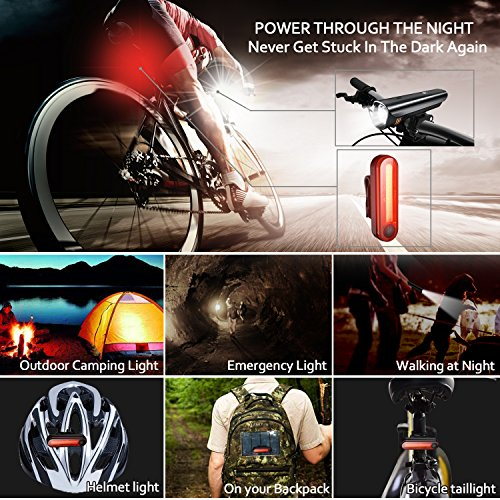 Anti-glare Safety Bike Lights Front and Back, DB DEGBIT Waterproof USB Rechargeable LED Bicycle Light Set, Powerful 4-mode Bright Headlight & Free Rear Light, Easy Install & Release Cycling Flashlight by DB DEGBIT (Image #6)