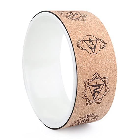 Amazon.com : A-Flower Yoga Wheel Natural Cork Dharma Exercise Wheel 12.6 x 4.9 Inch for Enhancing Your Postures and Stretching Deeper : Sports & Outdoors