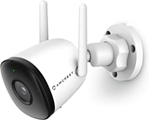 Amcrest 1080P WiFi Camera Outdoor, Smart Home 2MP Bullet IP Security Camera Outdoor Wireless, 98ft Nightvision, Built-in Mic, 102° FOV, 256GB MicroSD Storage (Sold Separately), ASH22-W (Wired Power)