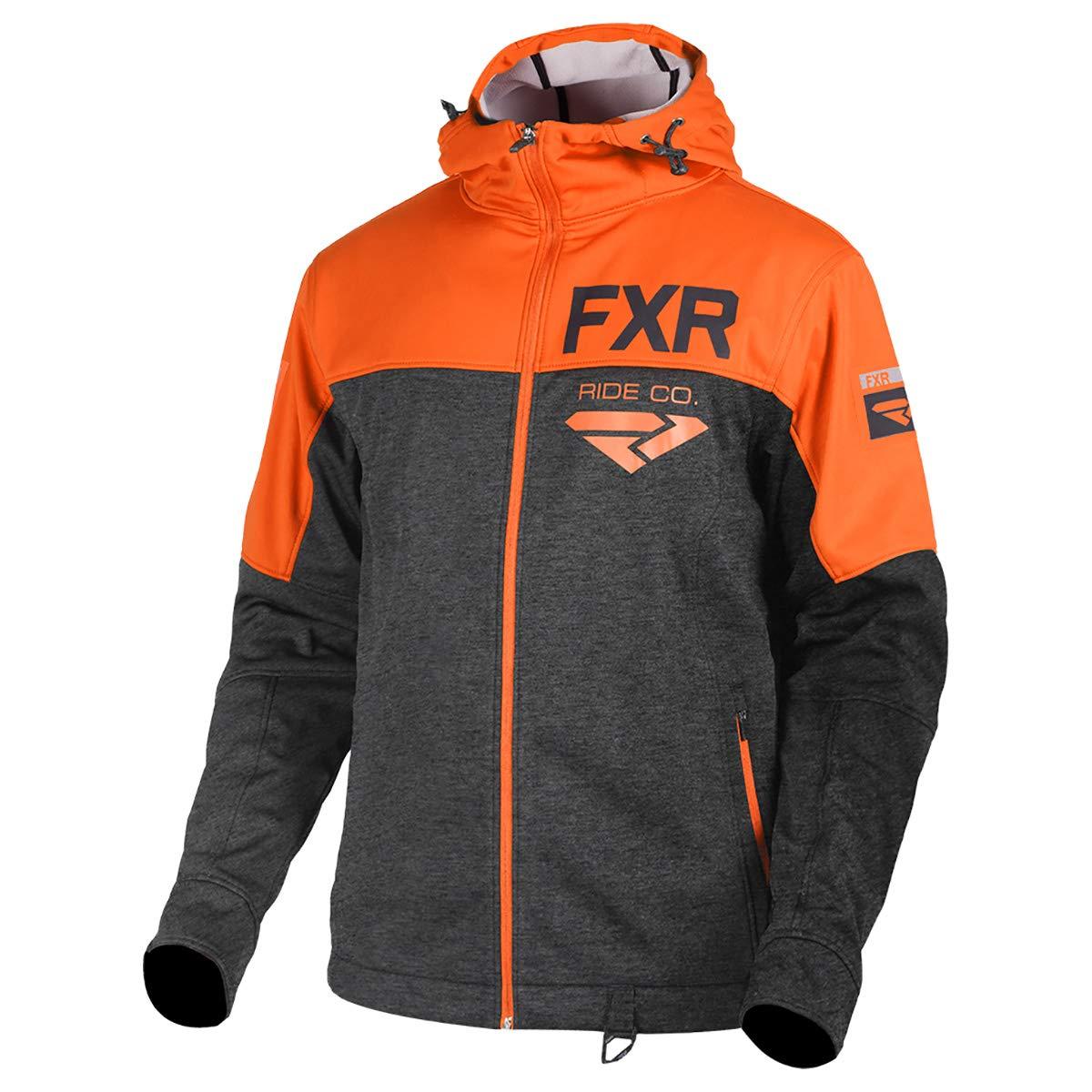 Charcoal Heather//Orange, Medium FXR Mens Hydrogen Softshell Hoodie