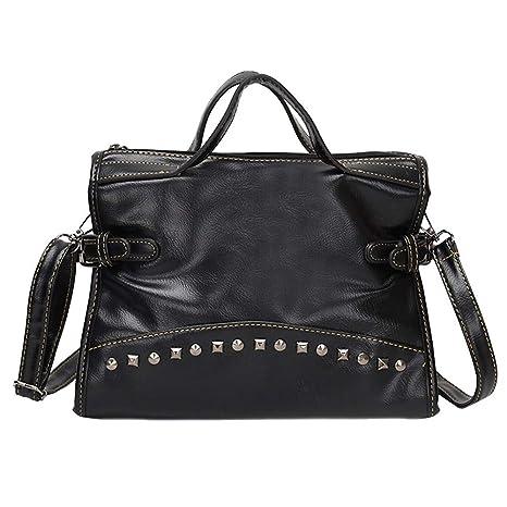 5b532b9902b7 Cinhent Shoulder Bag Vintage Women Pure Rivets Soft Quality Crossbody Hand  Totes (Black)