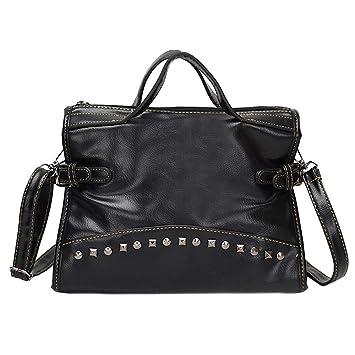 Gaddrt Women Vintage Leather Pure Color Rivets Crossbody Bag Shoulder Bag  Hand Bag (Black) 469ffb50bf
