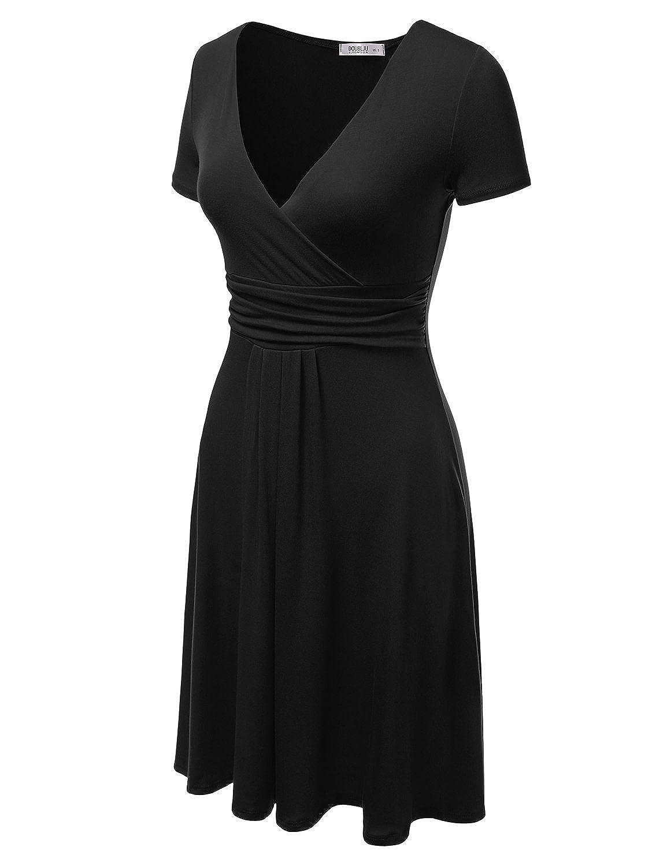 3dea3399 Black Skater Dress With Short Sleeves