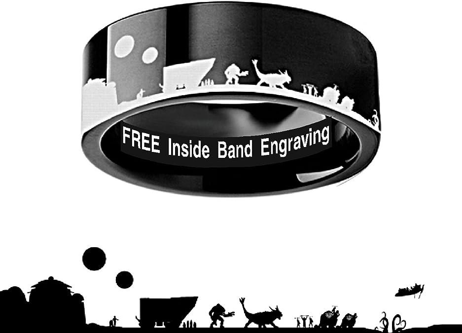 Thorsten Star Wars Jabba The Hutt Design Black Tungsten Ring 8mm Wide Wedding Band from Roy Rose Jewelry