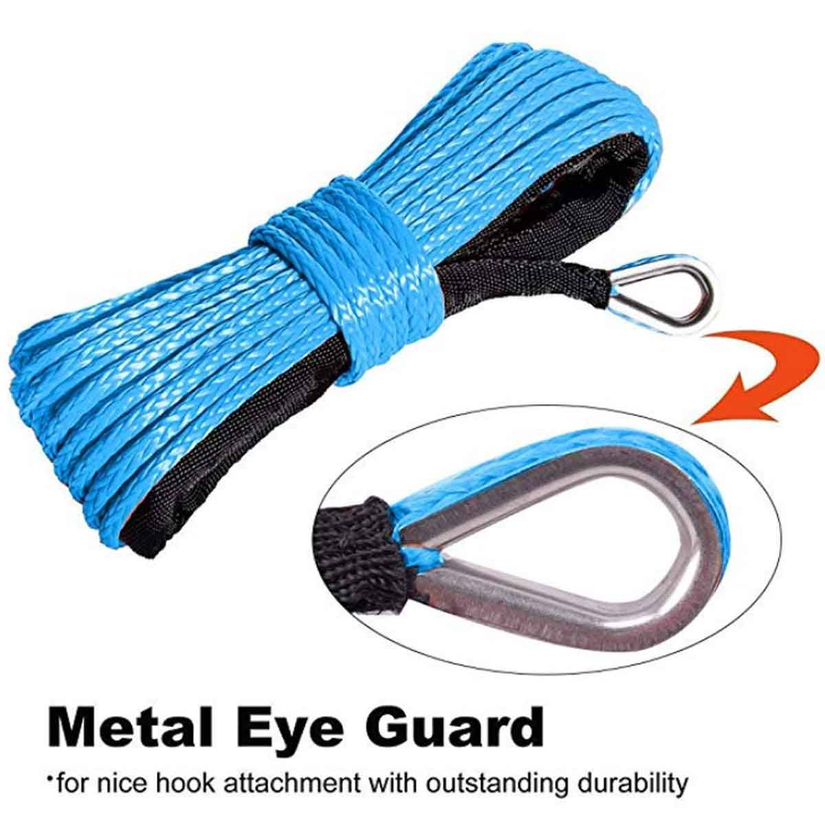 Red Synthetic Winch Rope 1//4 x 50 Nylon Synthetic Winch Cable 8300LBS sheathed Synthetic Winch for Winch ATV UTV SUV Winch Truck