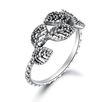 93104904cfdc03 Guzhile donne ragazze 925 Stering argento anelli aperti elegante stile  semplice ramo foglia anello regolabile gioielli Gift: Amazon.it: Gioielli