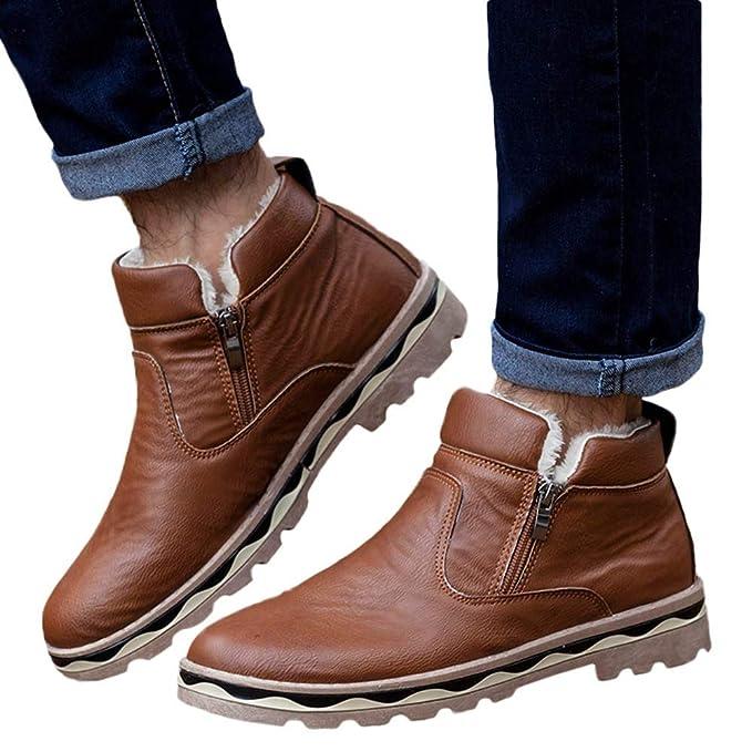 Zapatos de hombre JiaMeng Zapatos con Cordones Botines Adventure Adulto Casual Navidad Boots Botas de Nieve para Estudiantes Botas de Piel de Invierno de ...