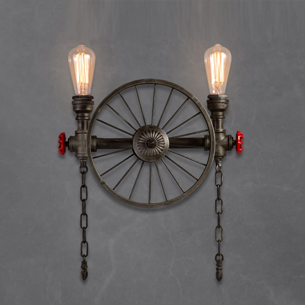 Retro wall lamp Water pipe wall lamp Industrial wall lamp Iron wall lamp E26 bulb Bedroom Bar Attic balcony Basement Garage Height 20.9 Inch 21w-30w (Bronze color / Silber) ( Color : Silver )