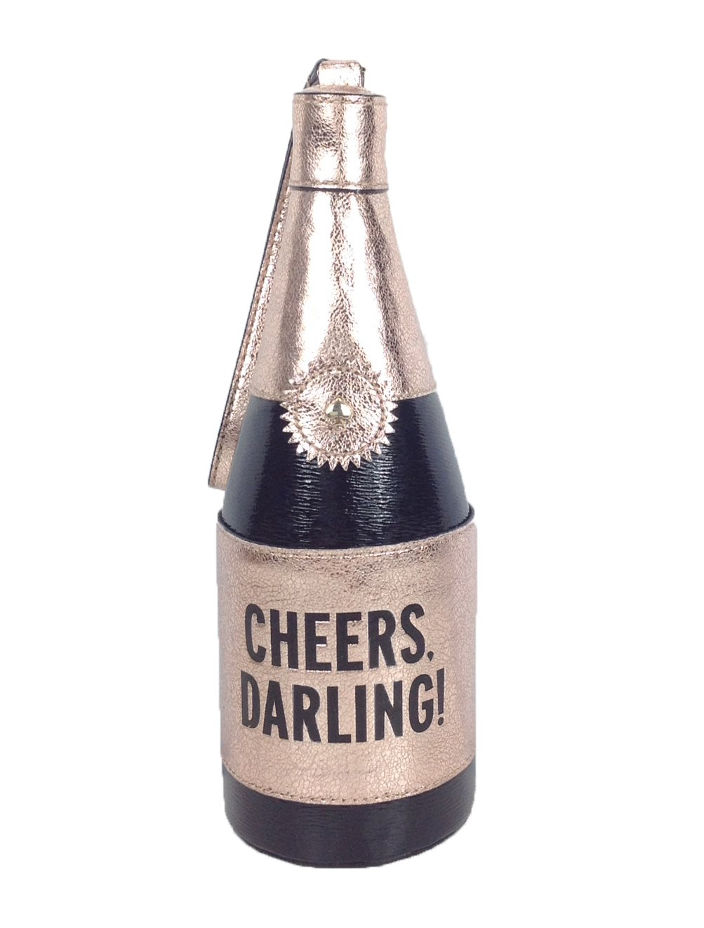 Kate Spade Champagne Bottle Wristlet Cheers Darling Clutch Black Rose Gold by Kate Spade New York