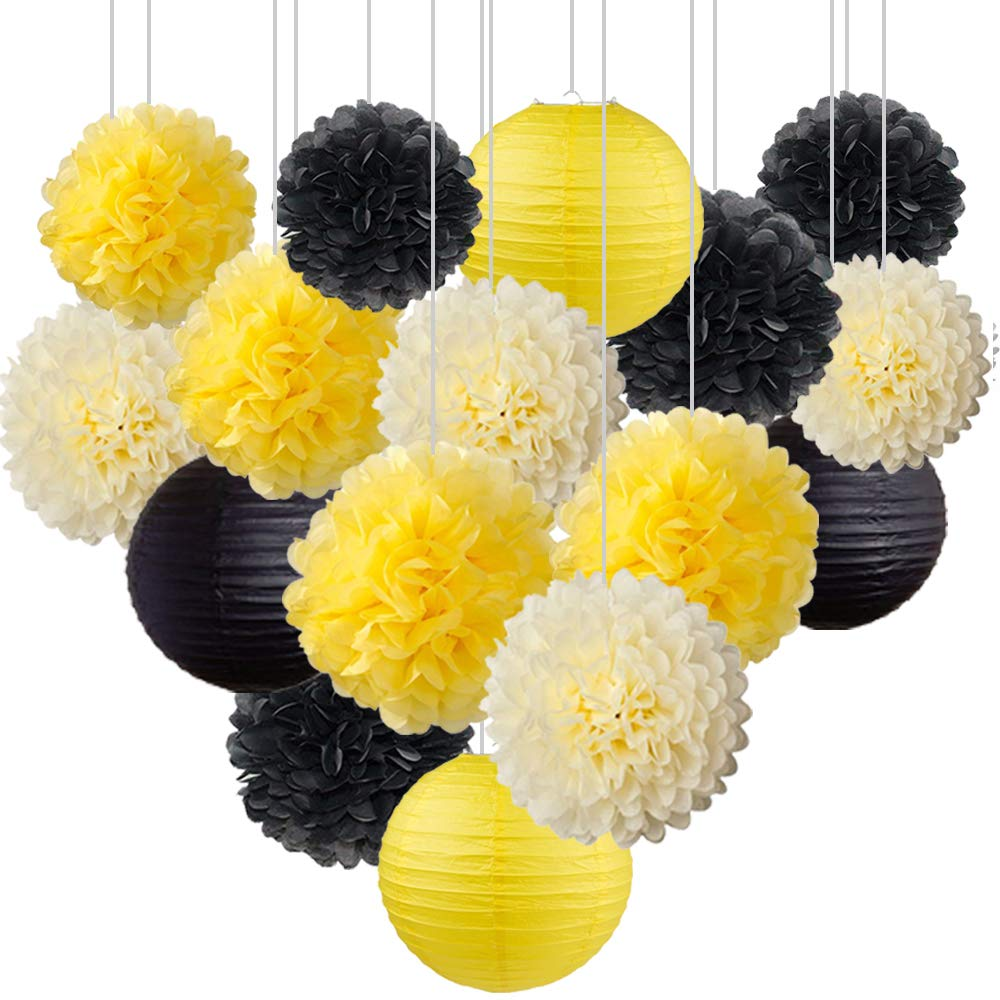Set of 16 Black Yellow Bee Party Decoration Hanging Paper Lanterns Paper Pompoms Backdrop for Bumblebee Bee Baby Shower Gender Reveal Birthday Party Decoration Wedding Bridal Shower Centerpieces Home by zorpia