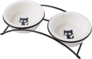 none branded KitchenLeStar Cat Food Bowls Set,Raised Cat Bowls for Food and Water,Ceramic Elevated Pet Dishes Bowls with Stand,12 oz Cats and Small Dogs Bowls,Dishwasher Safe