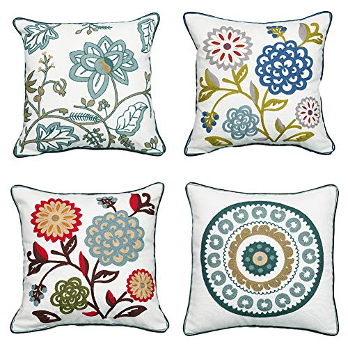Embroidery Throw Pillow Covers 18x18 | Decorative Pillows Cover for Couch Cushion Cover with Red Floral Green Blue Leaves Embroidered 4PC Set
