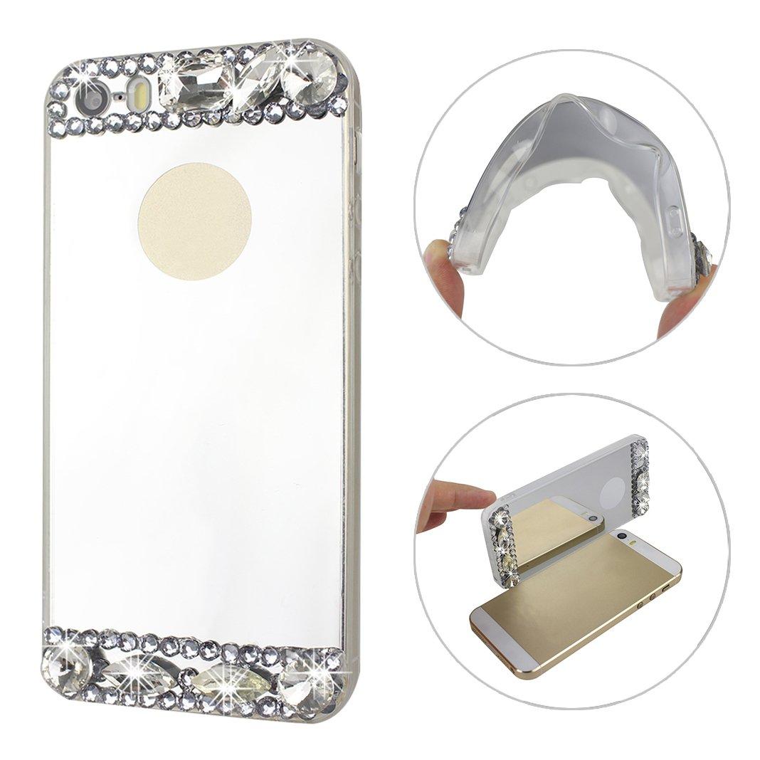 Iphone 5 Iphone 5 s Iphone SEケースカバーHuaForCityソフトTPUダイヤモンドミラー電話プロテクターシェルケーススキンfor Iphone 5 / 5S / SEシルバー   B0748H76X4