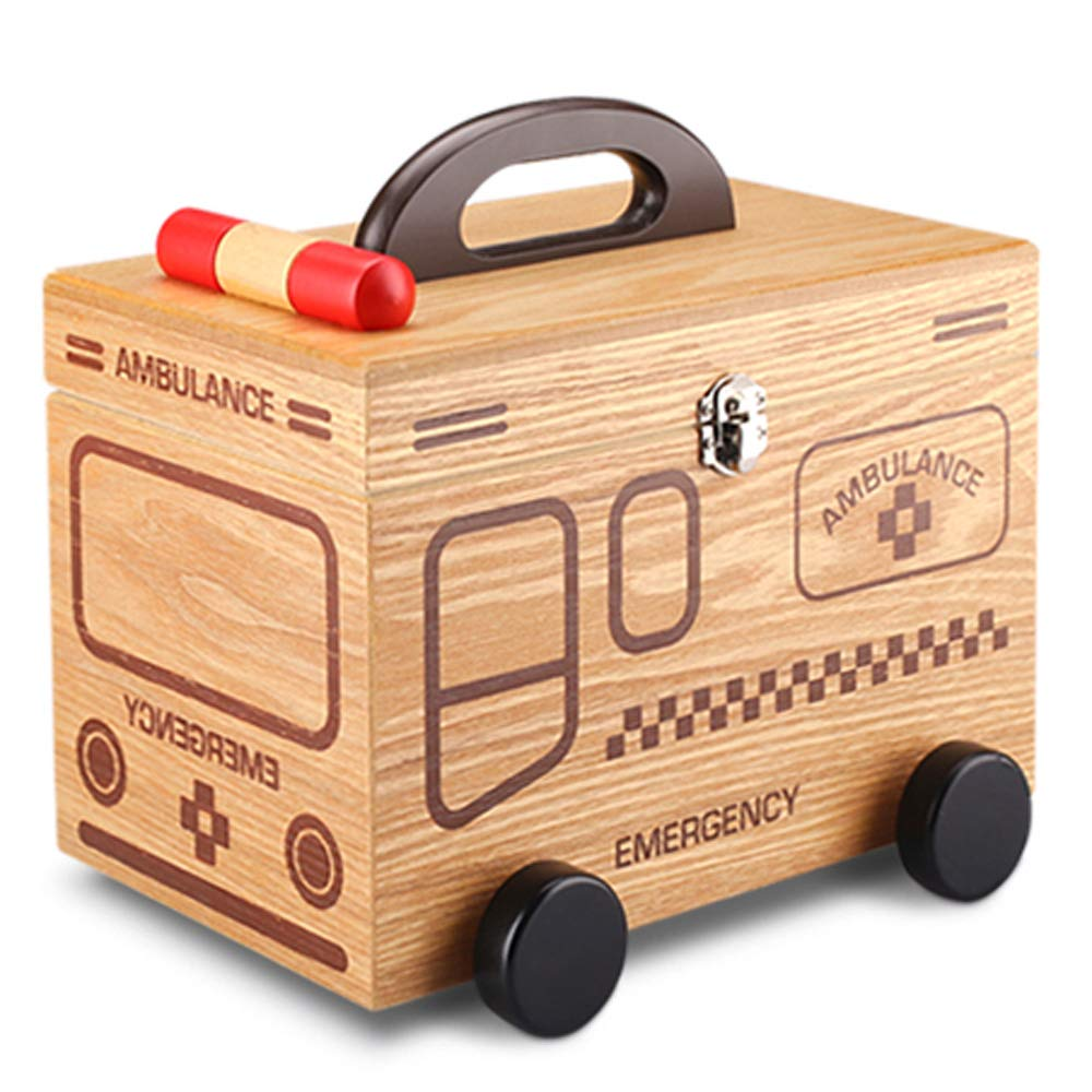 JUFU Medical Box Medical Box - Wooden, Portable Portable Moisture-Proof dust Double-Layer Large-Capacity Home Personality Creative, Home Wooden Medicine Box Medical outpatient Medical kit Medicine st