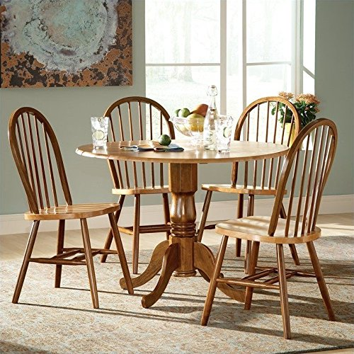 Windsor Desk Chair (International Concepts 5-Piece 42-Inch Dual Drop Leaf Pedestal Table with 4 Windsor Chairs, Cinnamon/Espresso Finish)