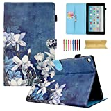 Coopts Case for All-New Amazon Fire HD 10 Tablet (7th/5th Generation, 2017/2015 Release) - Multi-Angle Viewing Stand Cover with Auto Wake/Sleep for Fire HD 10.1 Inch Tablet, White Flower