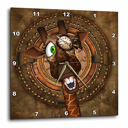 3dRose Heike Köhnen Design Steampunk – Steampunk, funny steampunk giraffe with clock – Wall Clocks