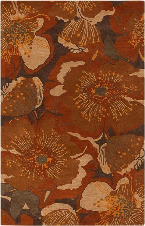 Amazon Com Wisner Floral Transitional 9 9 Round Round Transitional 100 Wool Rust Dark Brown Tan Burnt Orange Area Rug Kitchen Dining