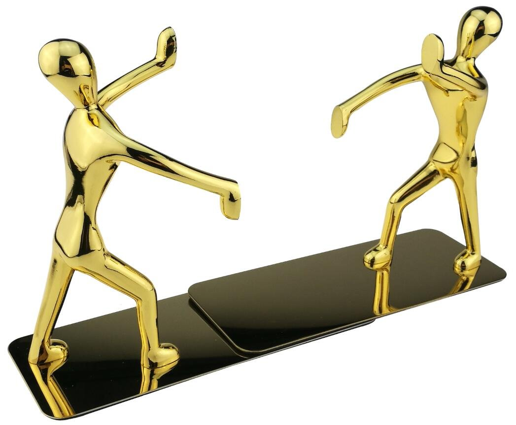 Winterworm Fashion Creative Shiny Kung Fu Man Stainless Steel Metal Bookends Book End For Home Office Library School Study Decoration Gift-Gold